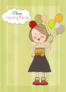 Girl with balloon, birthday greeting card Stock Photo