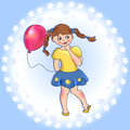 Girl with a balloon cartoon little on the blue background vector illustration Royalty Free Stock Photography