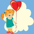 Girl with balloon heart on background clouds Stock Images