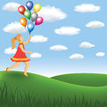 Girl with balloon on the meadow Royalty Free Stock Image