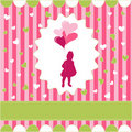 Girl with balloon, pink wallpaper Royalty Free Stock Images