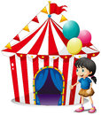 A girl with balloons in front of the circus tent illustration on white background Stock Photography