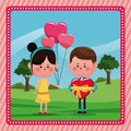 Girl balloons heart boy gift valentine day rural landscape
