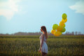 Girl with baloons young beautiful in the field Royalty Free Stock Photos