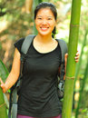 Girl in bamboo forest Stock Photography