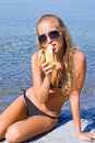 Girl with banana Stock Photography