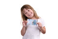 The girl with banknote in hands on a white background Stock Images
