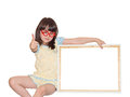 Girl with banner in red glasses holding white frame isolated Stock Images