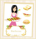 Girl barbecuing meat illustration Stock Image