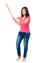 Girl with baseball bat Stock Images
