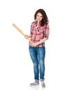 Girl with baseball bat anger young woman wooden isolated on white background Stock Photo