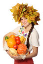 Girl with basket Royalty Free Stock Images