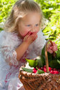 Girl with basket of cherries big in the garden Royalty Free Stock Image