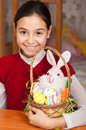 Girl with a basket of Easter eggs Royalty Free Stock Images