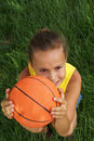 Girl with basketball 3 Royalty Free Stock Image