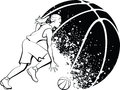 Girl basketball with grunge ball black and white vector illustration of a female player dribbling in front of a in background Stock Photo