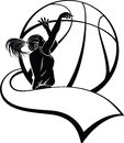 Girl Basketball Shooter with Pennant Royalty Free Stock Photo