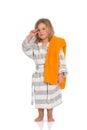 Girl in bath robe Royalty Free Stock Photo