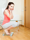 Girl on bathroom scales Royalty Free Stock Photo