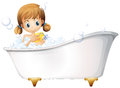 A girl on the bathtub illustration of white background Stock Images