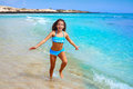 Girl on the beach Fuerteventura at Canary Islands Royalty Free Stock Photo