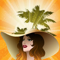 The girl in a beach hat illustration with against palm trees and tropical sunset drawn vintage style Royalty Free Stock Photos