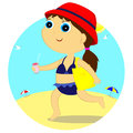 Girl on the beach little goes sunbathing Stock Photo