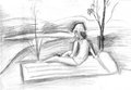 Girl on the beach pencil drawing Stock Photos