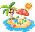 A girl at the beach under the scorching heat of the sun illustration on white background Stock Images