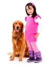 Girl with a beautiful dog happy isolated over white background Stock Photography