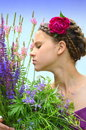 The girl in a beautiful hairstyle Royalty Free Stock Photo