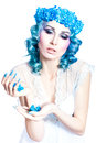Girl with beautiful make up and blue hair on a white background Royalty Free Stock Photography