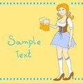 Girl with a beer celebrating oktoberfest pretty glass of vector illustration Royalty Free Stock Photo