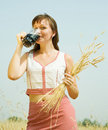 Girl  with beer and wheat ears Royalty Free Stock Photo