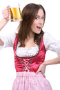 Girl with beer young sexy in national dress a glass of hand isolated on white background Royalty Free Stock Photos