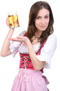 Girl with beer young sexy in national dress a glass of hand isolated on white background Stock Photography