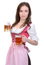 Girl with beer young sexy in national dress a glass of hand isolated on white background Stock Photo