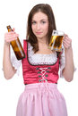 Girl with beer young sexy in national dress a glass of hand isolated on white background Stock Photos