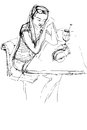 Girl being at a table in a cafe sketch of Royalty Free Stock Photos