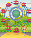 A girl below the ferris wheel illustration of Royalty Free Stock Photography