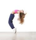 Girl bending backwards pretty little dancer Stock Photography