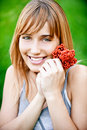 Girl with berries Stock Image