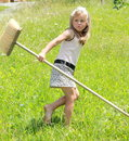 Girl with besom Royalty Free Stock Image