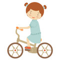 Girl on bicycle illustration of little Stock Images