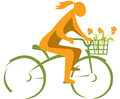 Girl on a bicycle illustration of riding for green transportation green city concept Stock Photography