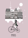 Girl on a bicycle in paris vector Royalty Free Stock Image