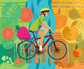 Girl on a bicycle. Summer. Autumn. Vector illustration