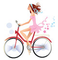 Girl on bicycle vector illustration of beaty with long hair Stock Image