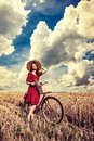 Girl with bicycle on wheat field. Royalty Free Stock Photo