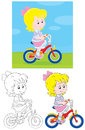 Girl bicyclist little riding a bike on rural road three versions of illustration Stock Image